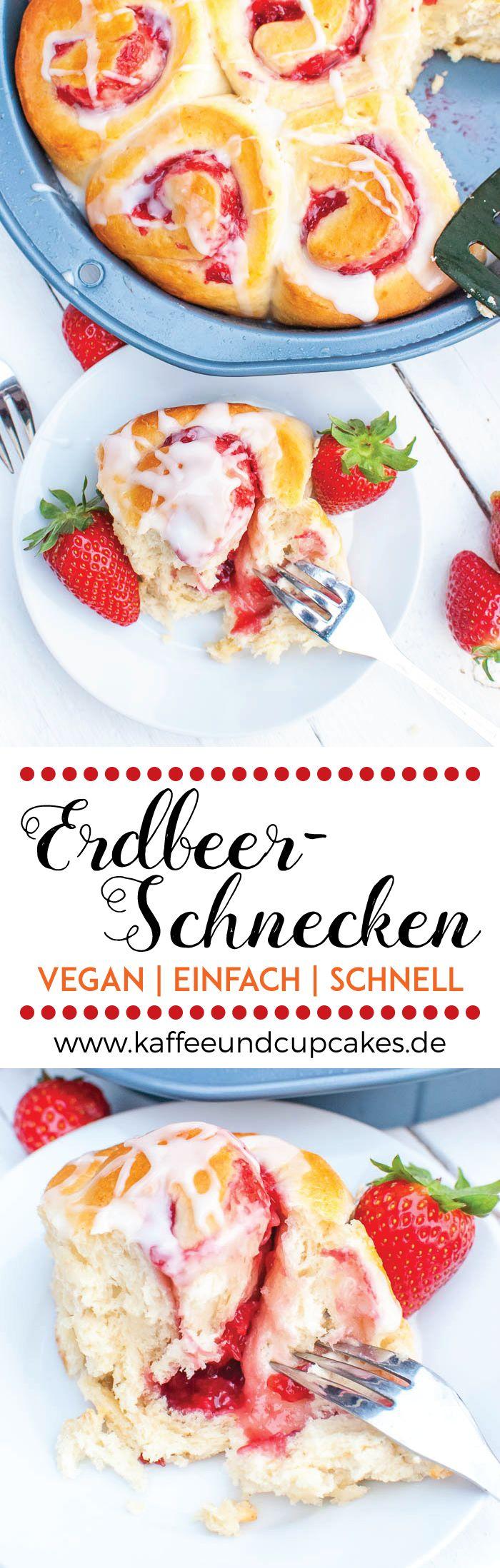 Schnelle vegane Erdbeer-Schnecken mit Guss   Kaffee & Cupcakes