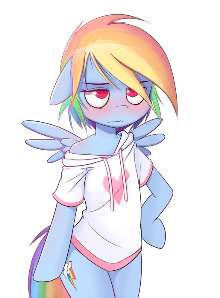 #1061114 - artist:hoodie, bipedal, blushing, clothes, cutie mark, floppy ears, hoodie, pyjamas, rainbow dash, rainbow dash always…