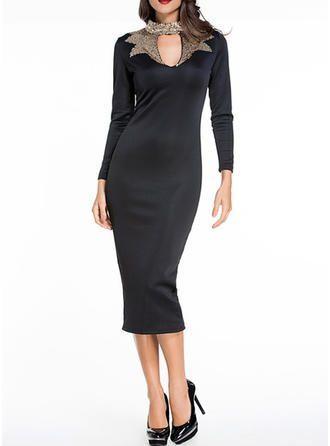 veryvoga schwarz freizeit elegant midi stehkragen polyester
