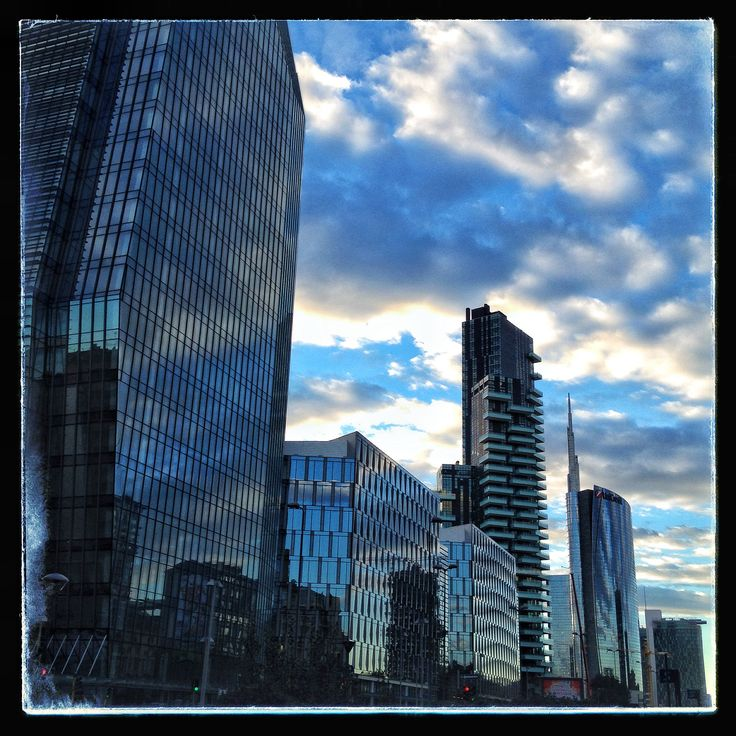 Skyscrapers of Milan on a fall evening facing NW