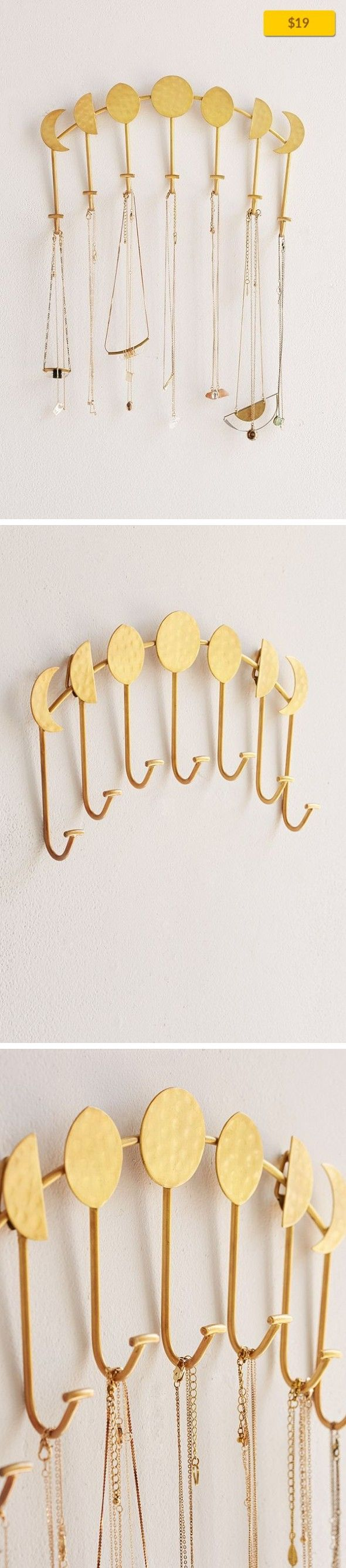 Magical Thinking Artemis Wall Mounted Necklace Holder Sale, Apartment Sale, Décor   Wall mounted multi-hook necklace holder from UO's own Magical Thinking collection. Includes seven hooks perfect for hanging necklaces, scarves + more. Moon cycle inspired design for a unique feature piece in any living space. UO Exclusive. Hardware not included. Content + Care - Metal - Wipe clean - Imported Size ...