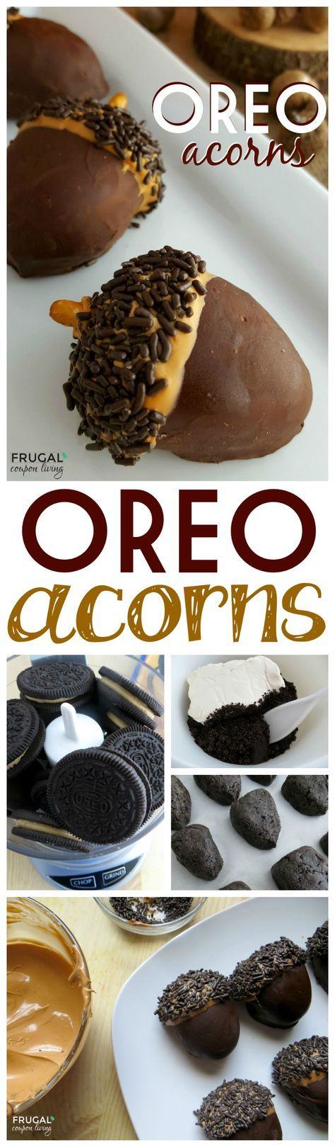 Fall Kid's Food Craft - easy to make Edible OREO Acorns. Recipe details on Frugal Coupon Living. This is a great fall recipe for kids, they would be adorable at the Thanksgiving Dessert Table!