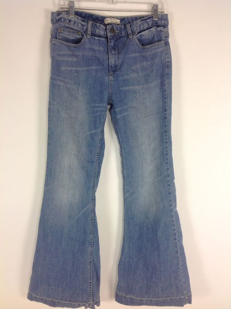 Free People Bell Bottom Jeans Casual Loose Wide Big Flare Light Denim Long 30 #FreePeople #FlareBellBottom