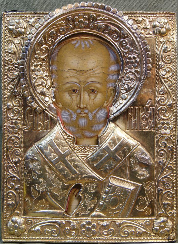 Икона в окладе «Св. Николай Чудотворец» (близкий типу «Великорецкого»).  последняя треть XVIIIв.