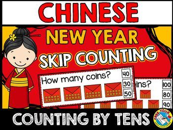 OINS IN MONEY ENVELOPE SKIP COUNTING CLIP CARDS: COUNTING BY TENS  CHINESE NEW YEAR COUNTING BY TENS TASK CARDS: COUNT AND CLIP (NUMBERS 10 TO 100)   This hands-on fun pack, containing 10 task cards, is an ideal resource for your Math Center! Children have to count the coins in tens (since each money envelope contains 10 coins) and clip the clothes pin onto the corresponding number.