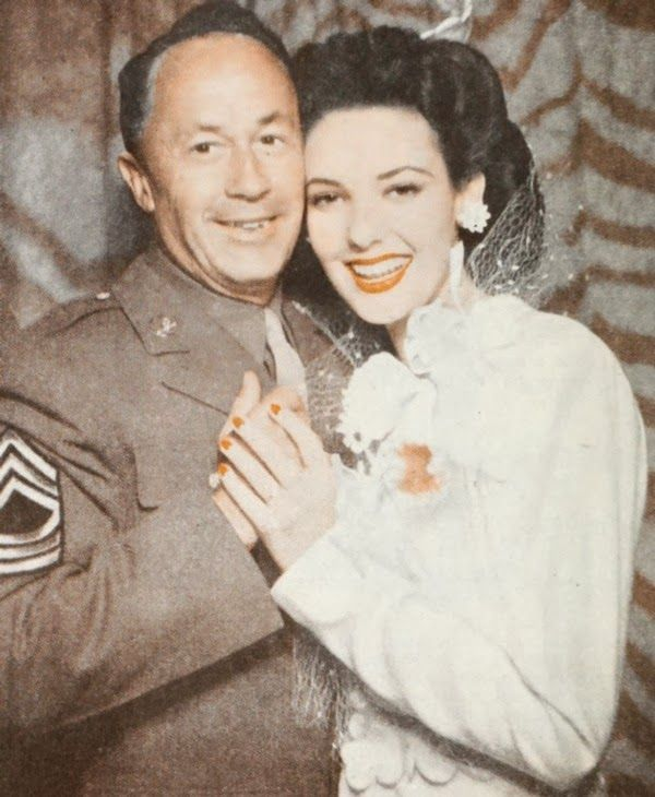 Linda Darnell and J. Peverell Marley on their wedding day, 1943    Vintage Bride and Groom    Vintage Bridal Beauty    #TBT