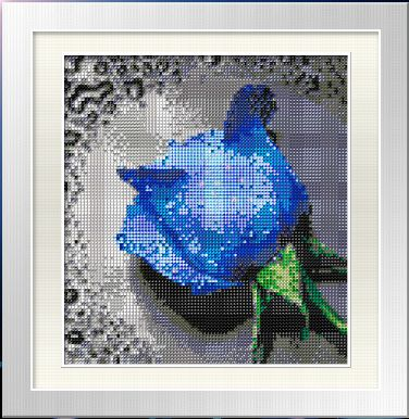Blue Rose cross stitch design without a stitch - diamond beading by number kit