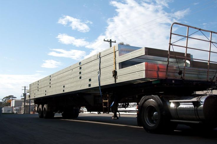 A truck loaded with prefabricated floor frames ready to leave our factory near Mittagong NSW.