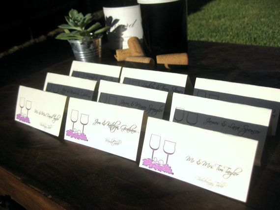 Wine Theme Name Cards Customize Vineyard Wedding Reception For Guests Tented Place Winery Several Colors