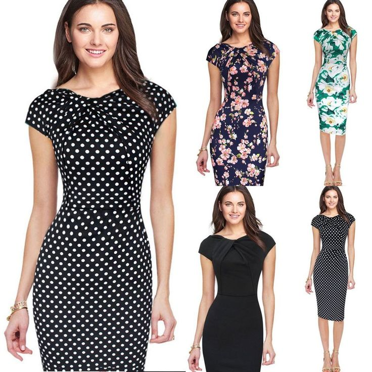 Features:  100% Brand New & High Quality  Plain color or elegant floral print, pick the style you like  Suitable for cocktail party, office, dating, etc  Dress only, any other accessories not included  Material: Polyester   Color: Green White | Navy Blue   Pink | Black Bottom Dot | Black  Size: M/L/XL. | eBay!