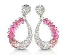 Verdi pink sapphire and diamond earrings