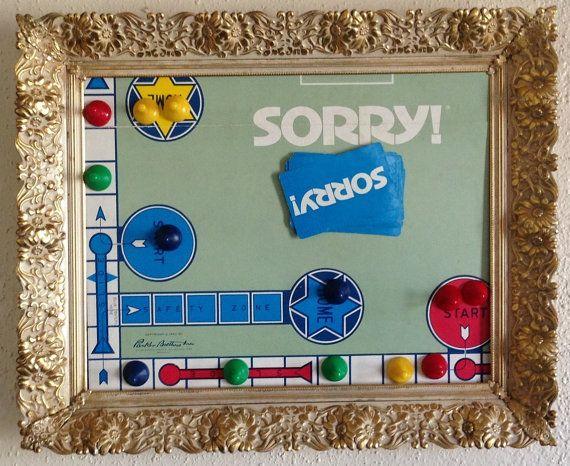 Vintage 1950 Sorry board game Framed Art by ScottsArtShop on Etsy,