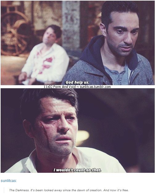 """11x02 Form and Void [gifset] - """"I wouldn't count on that."""" - Castiel and Hannah, Supernatural"""
