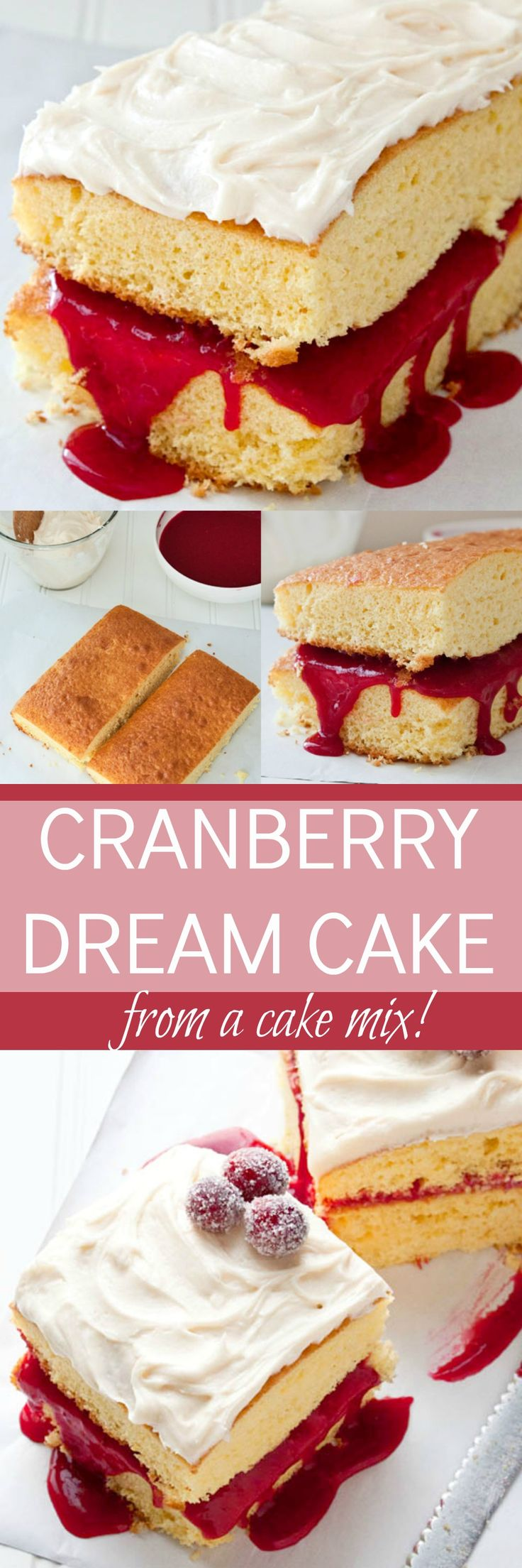 Cake mix cake: cranberry cake using a cake mix! Easy homemade cranberry curd and fluffy dreamy frosting!