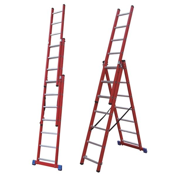A compact fibreglass combination ladder for use where electrical hazards exist. Can be configured as a single, double or triple extension ladder as well as a freestanding extending stepladder. Two compact sizes are ideal for transporting inside your van, and are ideal for all internal or external wo