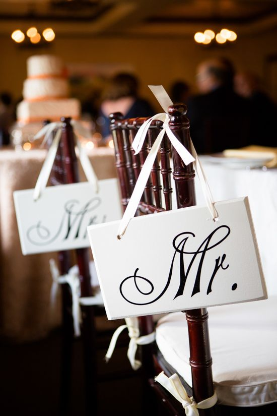 Mr and Mrs Chair signs at sweetheart table. ---> http://www.weddingchicks.com/2014/06/04/sonoma-summer-wedding-by-catherine-hall-studios/