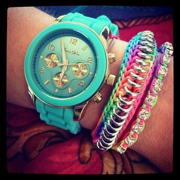 amazingStacked Bracelets, Mint Green, Style, Turquoise Watches, Watches Turquoise, Gold Watches, Summer Colors, Arm Candies, Beautiful Pictures