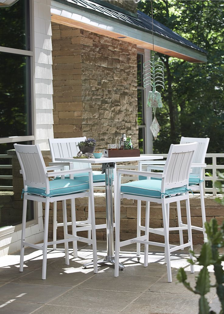 Invite friends and family for an outdoor dining experience with style. Our Regatta collection has clean lines, slight curves, and a contemporary look with an antique white finish. Dining chairs and barstools feature plush, all–weather resistant cushions.
