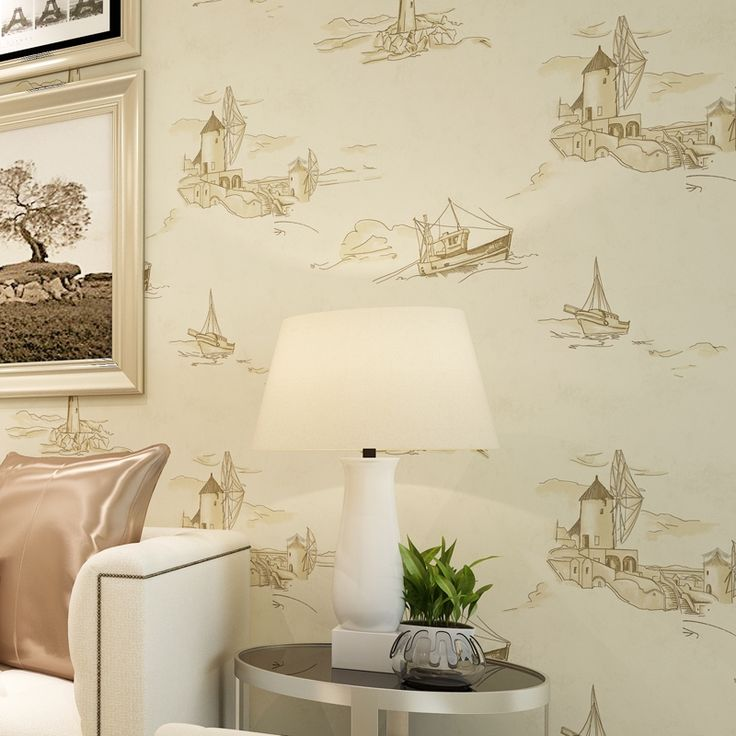 23.02$  Buy here - http://aliu2u.shopchina.info/go.php?t=32805773529 - Mediterranean Style Sailing Lighthouse Non-woven Paper Wallpaper For Living Room Kids Bedroom Background Decoration Wall Paper  #buyonline