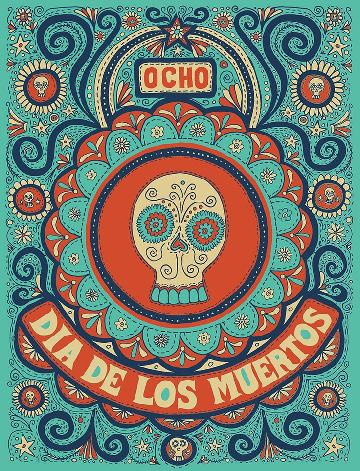 love this - super cute & quirky dia de los muertos poster                                                                                                                                                                                 More