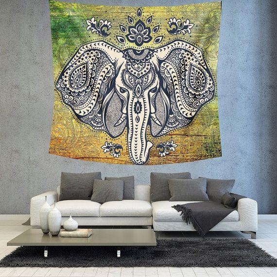 Elephant tapestry Mandala wall hanging by Christinedecorshop