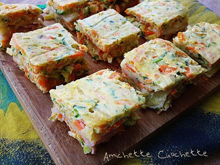 I quadrotti alle verdure farciti con prosciutto cotto e formaggio