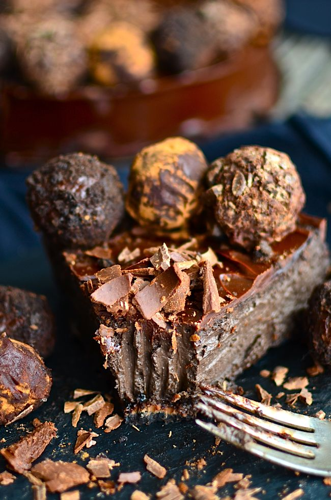 Yammie's Noshery: Dark Chocolate Cheesecake with Kahlúa Truffles