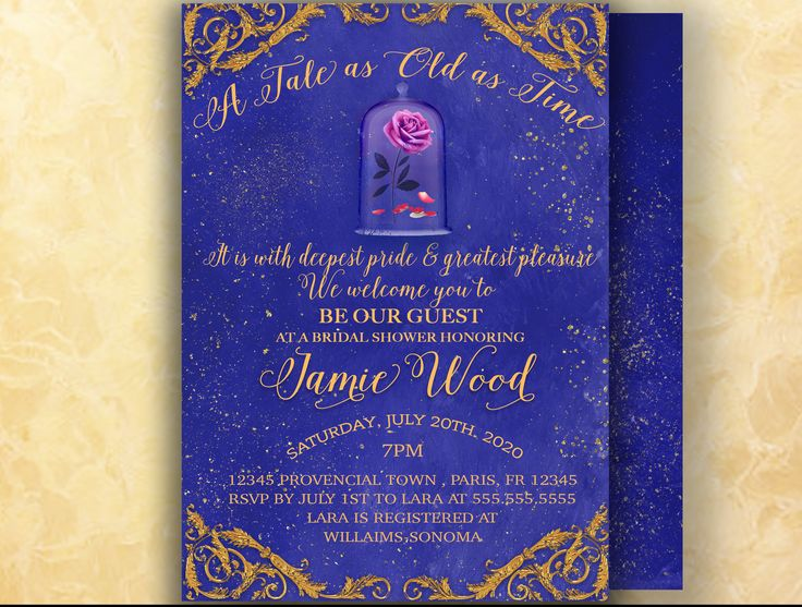 Beauty And The Beast Themed Wedding Invitations: 54 Best Bridal Shower And Bachelorette Party Invitations