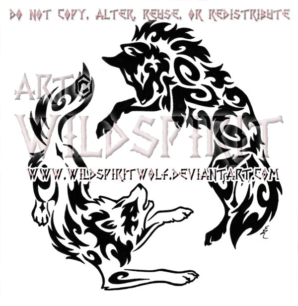 yin yang aggressive wolves tribal design by on deviantart. Black Bedroom Furniture Sets. Home Design Ideas