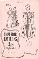 Vintage Superior 9854 House Frock, Housecoat Pattern B42