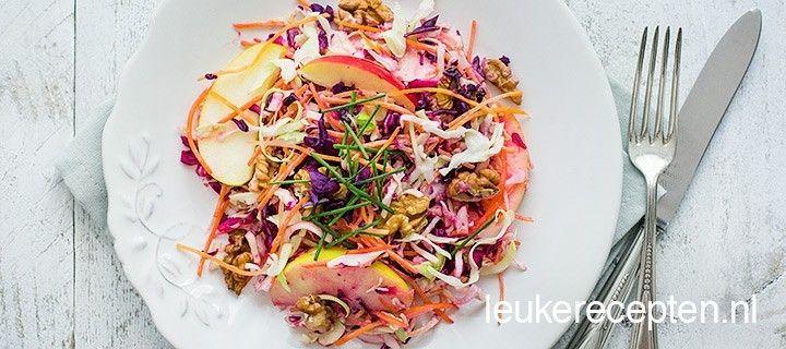 gezonde gekleurde salade met witte en rode kool, wortel, stukjes appel en een yoghurtdressing
