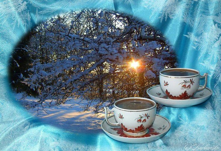 Открытки с добрым снежным утром и хорошим настроением