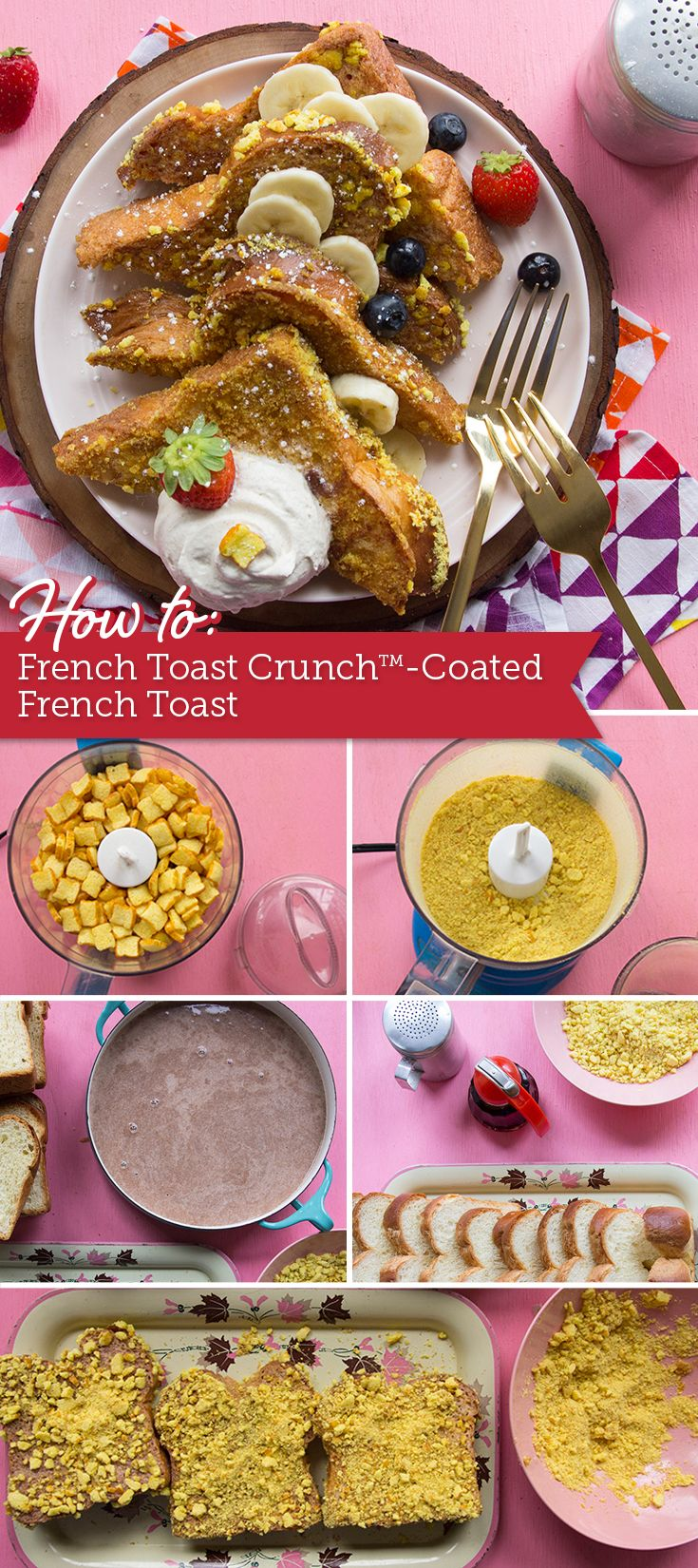 Double-down on irresistible French-toast flavors with this indulgent breakfast made with French Toast Crunch™ cereal.