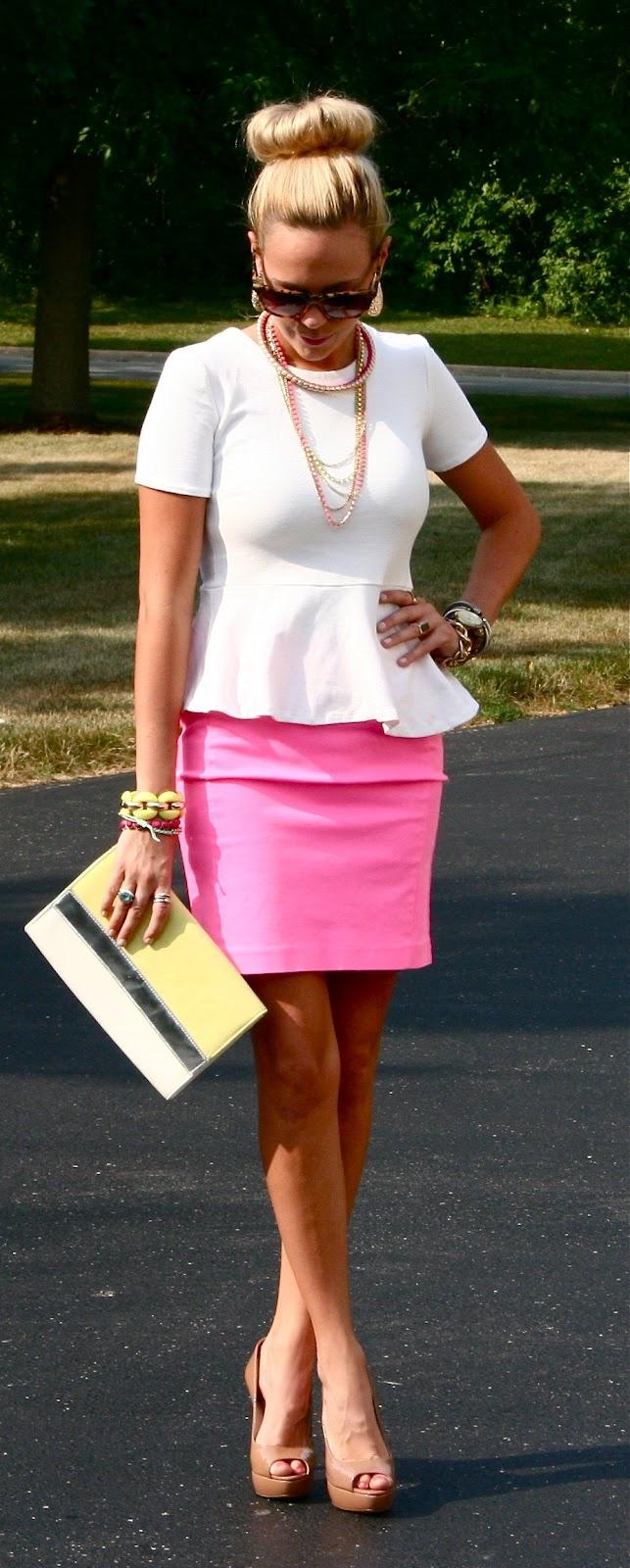 White peplum, pink skirt, cognac open toe heels