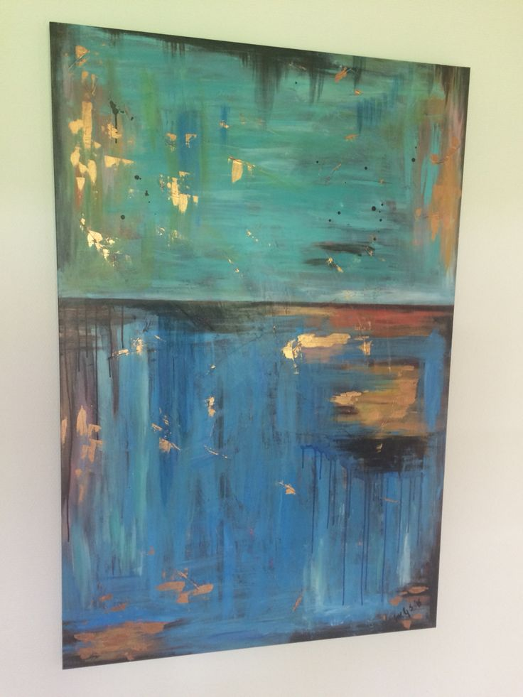 Abstract Painting - Green, Blue, Brown, Copper. Acrylic on canvas