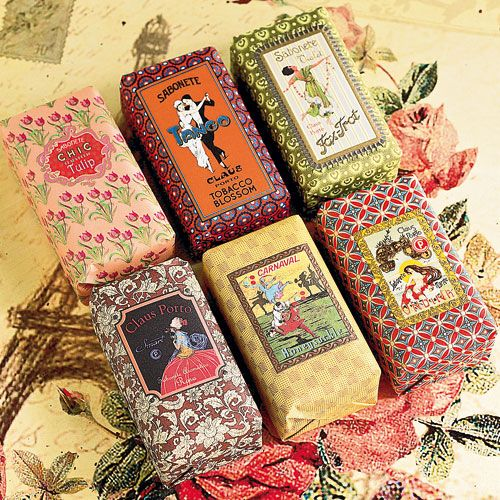 Claus Porto Vintage Soap - The quality of this soap is renowned throughout the world, each bar in this collection is hand wrapped with an extraordinary design featuring unique graphics from Claus Porto archives. Choose from, honeysuckle, rose, marine, tobacco blossom, violet or tulip.