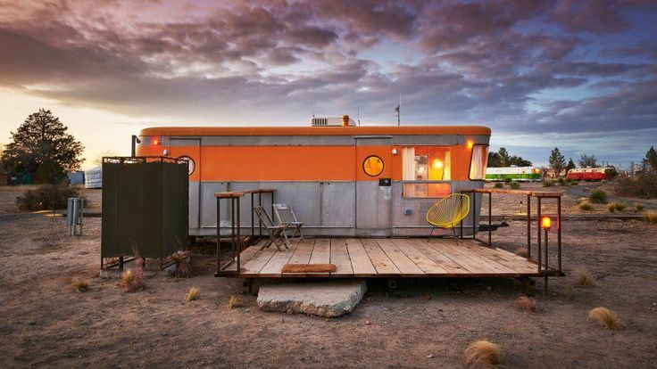 America's Best Vintage RV Hotels. El Cosmico in Texas features 10 vintage trailers and a wood-fired hot tub. Photo: Nick Simonite