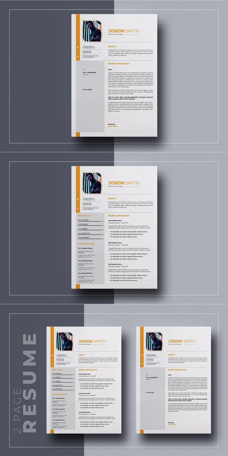 2 Page Resume in 2020 Resume design