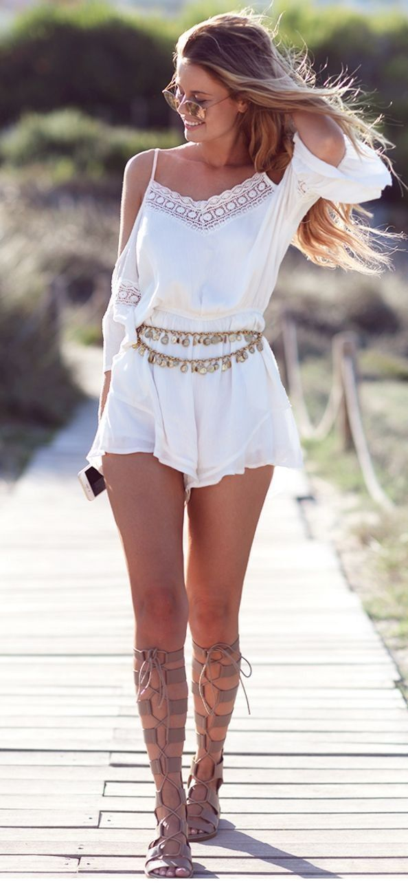 #summer #cute #outfits | Antique White Playsuit