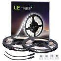 LE 2 Pack * 16.4ft LED Strip Lights, 300 Units SMD 3528 LEDs, 12 V Light Strips, 6000K Daylight White LED Light Strips, 91 Lumens/ft, 1.5 watts/ft, Non-waterproof, LED Tape, LED ribbon