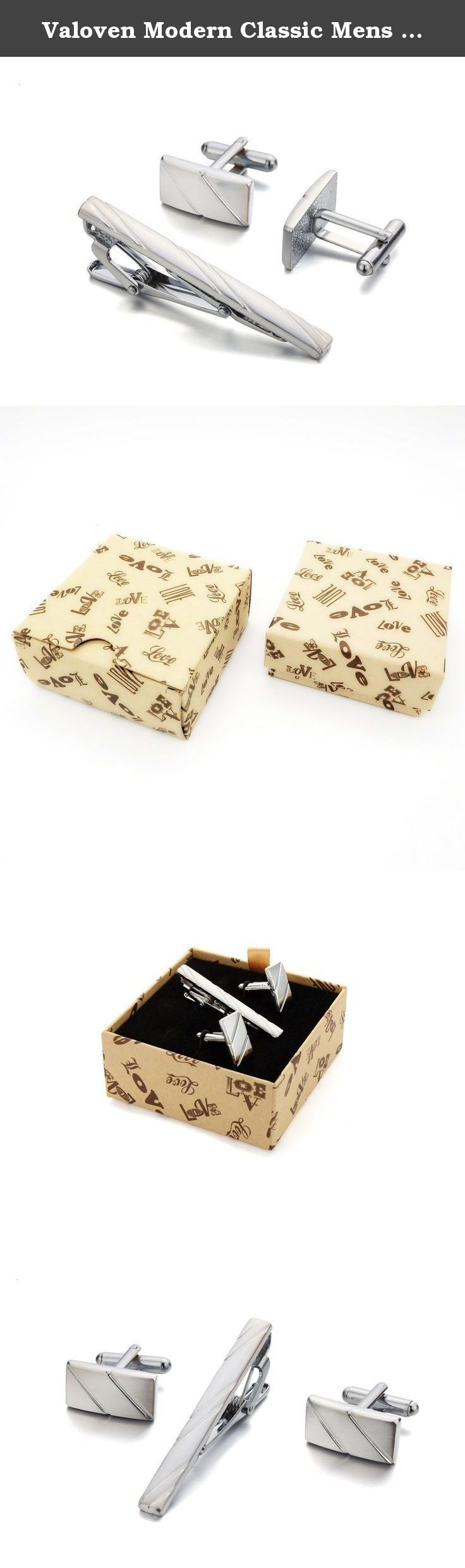 Valoven Modern Classic Mens Silver Tone 2.3 Inches Mens Tie Clip Cuff links Set, Handmade Gift Boxed. Your Reliable & Best Choice of Fashion Jewelry by Valoven Valoven classic men's tie clip cuff links set, not only can Improve the grade of the mens, More Can Reflect the modern fashionable breath, show men's calm and charm. Valoven classic men's tie clip cuff links set has the characteristics of both formal and fashion, is more of a neat, relaxed feeling. It's easy to match with your…
