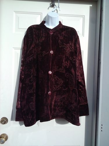 Womens Jacket Burgundy Brocade Chenille Beads Sz XL Beautiful Flashback Apparel | eBay (a favourite repin of VIP Fashion Australia www.vipfashionaustralia.com - Specialising in unique fashion, exclusive fashion, online shopping sites for clothes, online shopping of clothes, international clothing store, international clothes shop, cute dresses for cheap, trendy clothing stores, luxury purses )