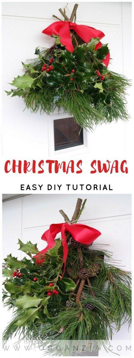 DIY Christmas swag, make an easy front door decoration. #christmas #diy #diychristmas #christmasswag #christmaswreath #diydoorcecor #christmasdoordecoration
