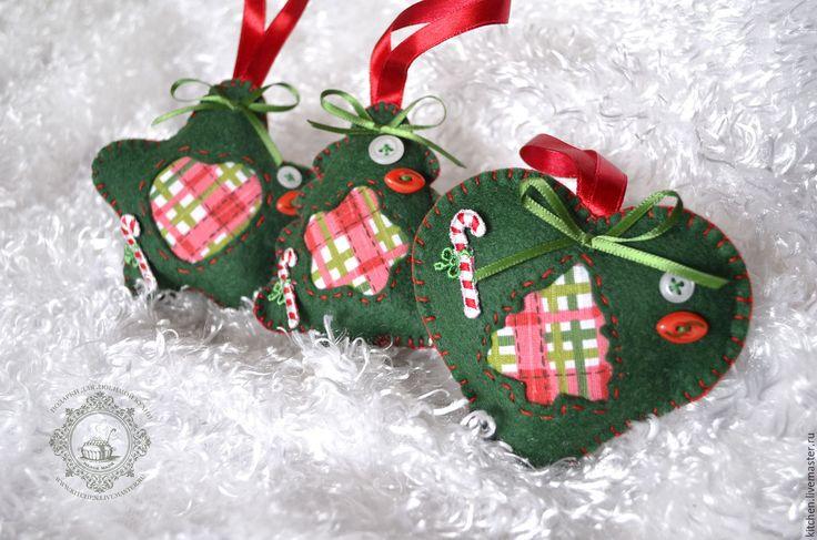 Купить Три Ёлочные игрушки - подарки для любимой кухни, кухня, ярко-красный, соцветие