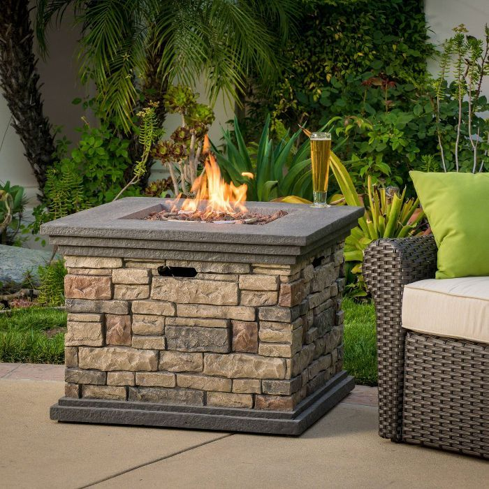 Chesney 32 Magnesium Oxide Gas Fire Pit Square Stone Finish Christopher Knight Home Backyard Fire Outdoor Fire Pit Outdoor Propane Fire Pit
