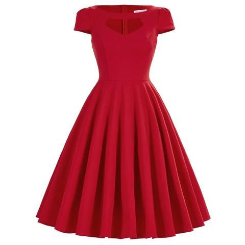 Vintage Casual Party Swing Dresses Gender: Women Waistline: Natural Material: Cotton, Polyester Dresses Length: Knee-Length Neckline: O-Neck Silhouette: A-Line Sleeve Length: Short NOTE: Please allow