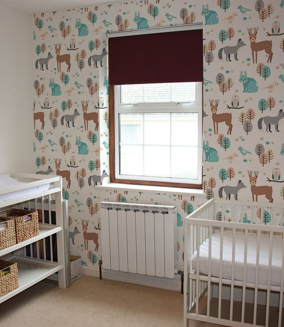 Nursery Wallpaper Woodland Animal Wallpaper Removable