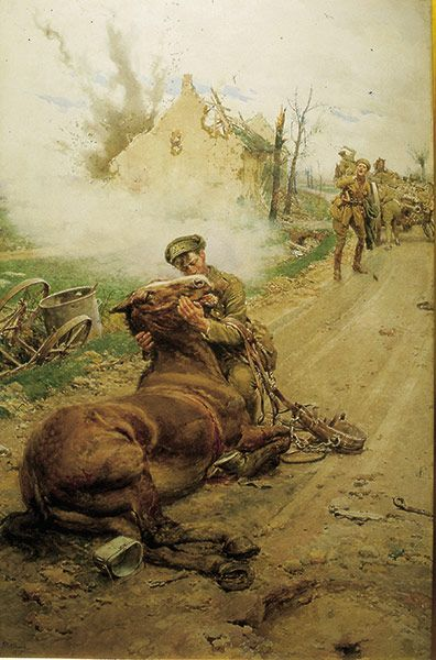 Credit: Blue Cross Goodbye Old Man. This poignant painting by Matania shows a soldier taking sorrowful and reluctant leave of his fatally wounded horse while his comrade urges him to leave. The painting is a stark illustration of the deep bond between the soldiers and their animals, a bond still celebrated by the Blue Cross today. Reproductions of the painting were sold between 1914 and 1918 to raise money for the Blue Cross fund and the original still hangs in the charity's animal hospital…