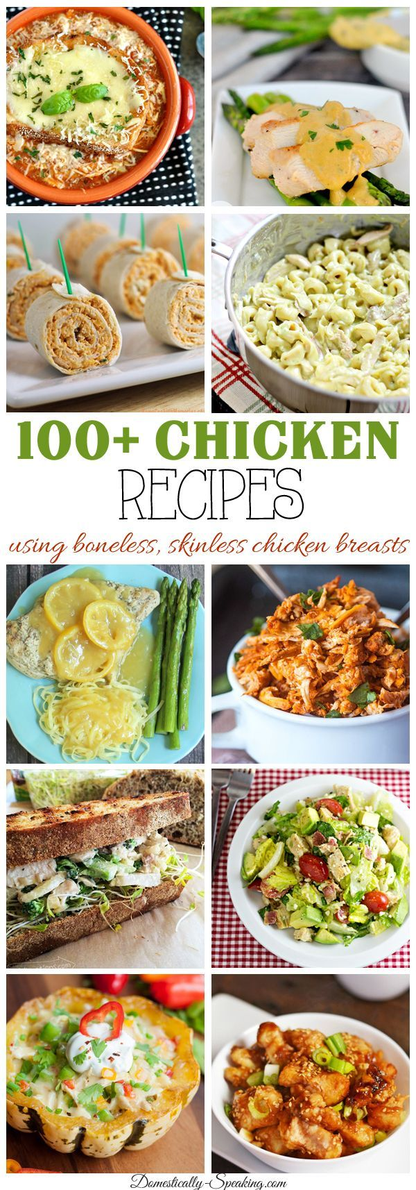 Over 100 Boneless, Skinless Chicken Breast Recipes chicken will never be boring again. Lots of soups, sandwiches, casseroles and more.