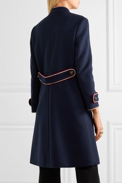 Navy wool-felt, red and white crepe Button fastenings along front 100% wool; trim: 90% acetate, 10% polyester; lining: 100% viscose Dry clean Made in Italy
